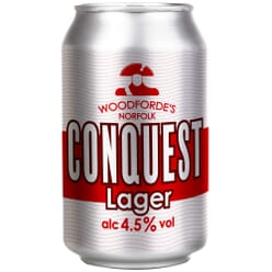 Woodforde's Conquest Lager Cans